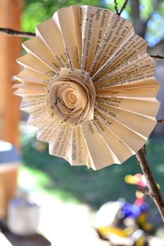 Book Page Pinwheels by fiadesigns on Etsy, $4.00