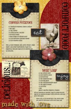 Yummy Comfort Food on a Cool Scrapbook Page.