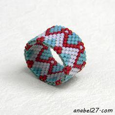 Кольцо из бисера Beawoven ring peyote ring #beadwork #beading