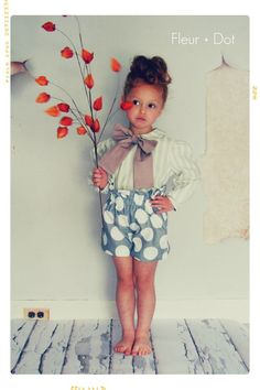 The Polka Dotted Ruffle Top High Waist Shorts from the Fleur + Dot Autumn Winter 12 Collection - Fleur and Dot