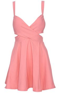 ROMWE Cut-out Crossed Pieced Pink Camisole Bandeau Dress
