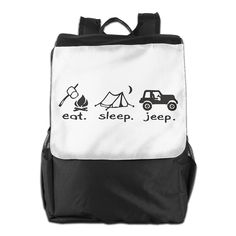 Eat Sleep Jeep Daypack Travel Backpack For Men Women Boy Girl ** Check this awesome image : Day backpacks Day Backpacks, Eat Sleep, Travel Backpack, Camping Gear, Jeep, Reusable Tote Bags, Awesome, Check, Image