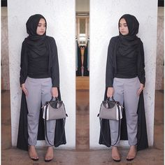 wednesday mood (fili pants in grey - alona outer in black)