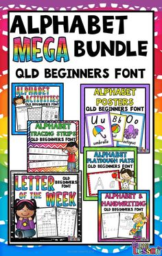 This Alphabet MEGA Bundle Qld Beginners Font includes a Handwriting and Alphabet Book, Alphabet Posters, Alphabet Playdough Mats, Alphabet Tracing Strips, Alphabet Activities, and Letter of the Week Activities. These fun and engaging products have all been created using the Queensland Beginners Font, and will help your students learn to correctly write, identify, and learn the sounds for each letter of the alphabet.