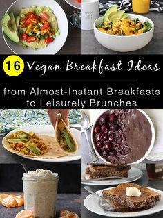 Start your day off right with these easy vegan breakfast ideas! There's a whole range of options, from almost-instant to brunch-worthy favorites, so you can choose the vegan breakfast that fits best into your schedule. Breakfast And Brunch, Breakfast Ideas, Health Breakfast, Vegan Recipes Videos, Best Vegan Recipes, Healthy Recipes, Vegan Blogs, Healthy Vegan Breakfast, Vegan Snacks