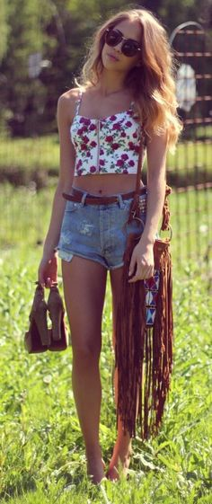 Floral crop top and high-waist shorts with belt.