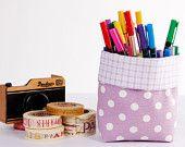 Mini Fabric Basket Storage Organizer Bin - Lilac Polka Dots