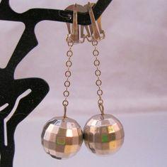 Mod Disco Ball Drop Dangle Earrings Silver by BrightEyesTreasures, $14.99
