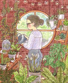 Illustration art watercolor New Ideas Inspiration Art, Art Inspo, Art And Illustration, Watercolor Illustration, Anime Kunst, Anime Art, Witch Art, Plant Art, Aesthetic Art