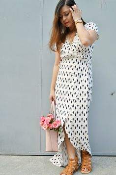Find styling inspiration with this style post featuring Shein wrap maxi dress and accessories from JORD, Kate Spade and AMIClubwear. Maxi Wrap Dress, All Fashion, Latest Trends, Short Sleeve Dresses, Style Inspiration, Queen, Shopping, Clothes, Street