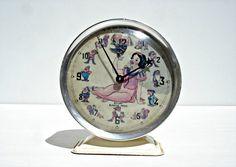 Vintage 1977 French Snow White Alarm clock by CoffeeandNostalgia