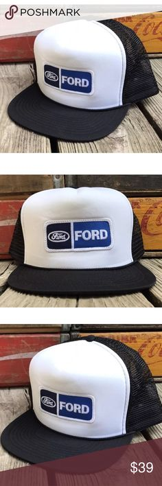 Vintage FORD 80s Black Mesh Snapback Trucker Hat Condition:  NEW Deadstock item w/out Tags (see photos).  Purchased from estate of Advertising Sales Rep. in Winston-Salem, NC. Stored in sealed box in 100% smoke free home office for several years (see photos). Photos accurately represent the condition of the item so please review all photos thoroughly. CobraCaps Accessories Hats