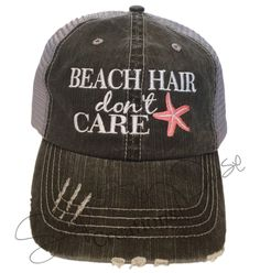 FREE SHIPPING Beach Hair Don't Care Trucker Hat with Coral Starfish by Snapaposecreations on Etsy https://www.etsy.com/listing/264872487/free-shipping-beach-hair-dont-care