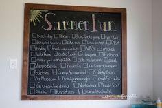 chalkboard art, summer chalkboard ideas, large chalkboard in kitchen, diy chalkboard