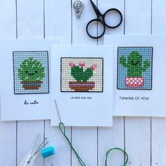 "190 Likes, 31 Comments - kamay slagoski (@handmadebykamay) on Instagram: ""Cacti Cuties. 🌵🌵🌵 Cross-stitch tag die from @mftstamps and sentiments from @thestamp_market 