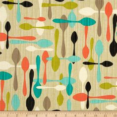 Michael Miller Jug or Not Retro Spoon Me Vanilla from @fabricdotcom  From Michael Miller, this fabric is perfect for quilting, apparel and home decor accents. Colors include orange, black, jade, aqua, citrine, ivory, khaki and vanilla.
