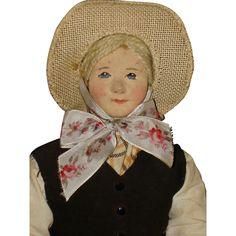 "11"" Ingeborg Nielsen Artist Cloth Doll Denmark 1940s-on from romancingthedoll on Ruby Lane"