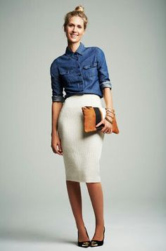 Need me a denim shirt!! no white skirt though...