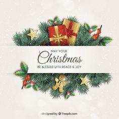 花輪クリスマスのグリーティングカード 無料ベクター