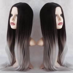 Image of Silver Ombre, Black Silver Grey Ombre Dipdye Gothic Lolita Cosplay Wig