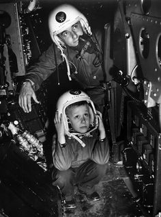Maj Louis Martinich Jr. B-47 Pilot and son Bobby, March AFB, 1954.