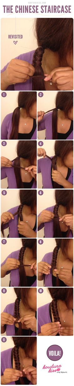 How to do Chinese Staircase Braid Hairstyle. I made this up a while ago and have never seen it before. IF I only longer hair. Braided Hairstyles Tutorials, Up Hairstyles, Pretty Hairstyles, Hairstyle Ideas, Hair Tutorials, Natural Hair Styles, Long Hair Styles, Tips Belleza, Great Hair