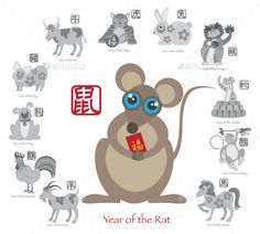 Chinese New Year Rat Color with Twelve Zodiacs Illustration by jpldesigns. Chinese New Year of the Rat Color with Twelve Zodiacs with Chinese Symbol for Rat Ox Tiger Dragon Rabbit Snake Monkey...