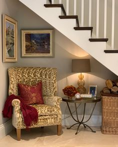I decided to make good use of the space under the stairs in this family home project. The wing chair from David Seyfried Ltd - Classic and Contemporary Bespoke Furniture made in UK is now a real… renovation Staircase Under Staircase Ideas, Under Stairs Nook, Living Room Under Stairs, Staircase Storage, Stair Storage, Staircase Design, Stair Decor, Wing Chair, Hallway Decorating