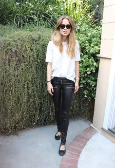 Anine Bing - leather pants & blouse at www.aninebing.com
