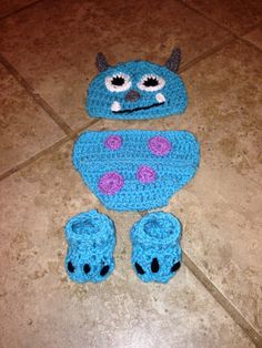 Crochet Monsters inc sully hat diaper cover by ZGirlsKreationz, $29.99