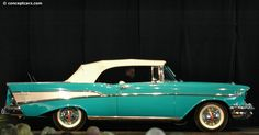 The 1957 Chevy is the car everybody knows. Maybe it's the fins. Maybe it's because - in the Sixties - every high school kid wanted one. Ford actually outsold Chevrolet in 1957, but the '57 Chevy has been called 'the most popular used car in history.' With its 'baby Cadillac' style and powerful V-8 engine options, the 1957 really was - to quote a Chevy ad of the day - 'sweet, smooth and sassy.' Chevrolet Corvette Stingray, Chevrolet Bel Air, 1957 Chevy Bel Air, Chevrolet Trucks, Chevrolet Impala, Bugatti Veyron, My Dream Car, Dream Cars, Cadillac