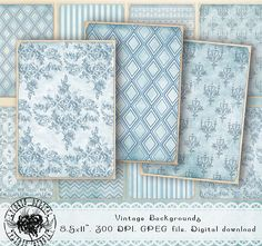 ATC Printable Backgrounds Vintage Blue Backgrounds Digital