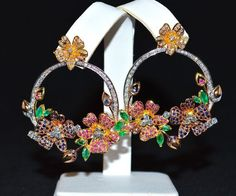 CERTIFIED natural untreated 6.9CTS VS G diamond ruby sapphire emerald 18k solid gold floral dangle chandelier riviera vintage earrings