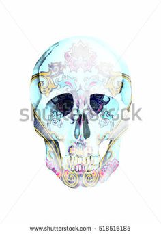 Watercolor paisley print. Boho style. Ornamental isolated skull on white background for wrapping, wallpaper, t-shirts, textile, posters, cards, prints