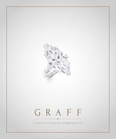 Graff Diamonds: 12.84 carat D Flawless Marquise Cut Diamond Ring
