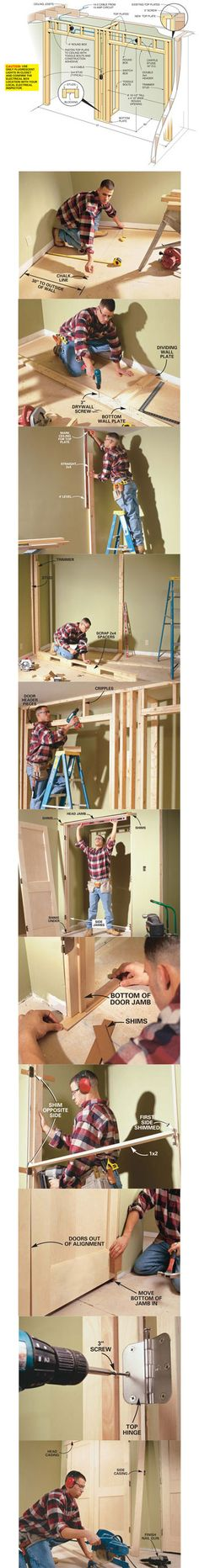 Need more closet space? You gain tons of storage space by stealing a few feet from a room and building a new closet, complete with double doors. In this article, we'll show you how to build a closet like this, concentrating on framing simple walls and hanging double doors. Learn how to build a closet at http://www.familyhandyman.com/DIY-Projects/Indoor-Projects/Bedroom/Closet-Organizer/how-to-build-a-wall-to-wall-closet/View-All