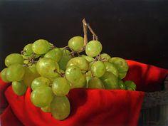 Dario Darguez  uvas y paño rojo Oleo sobre lienzo 60x80cm #art #hiperrealism #oil