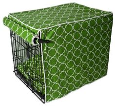 Green pet crate cover and bed