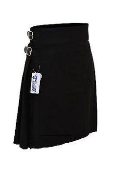 Men-039-s-Scottish-6-Piece-Casual-Kilt-Outfit-with-Sporran-Plain-Black-Tartan-Kilt
