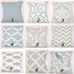 Blue throw pillow covers - from etsy user cathyscustompillows Light Blue Throw Pillows, Blue Throws, Blue Pillows, Toss Pillows, Couch Pillows, Blue Pillow Covers, Cover Pillow, Neck Pillow, Premier Fabrics