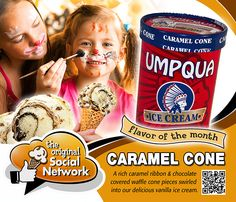 Caramel Cone - September Flavor of the Month. A rich caramel ribbon and chocolate covered waffle cone pieces swirled into our delicious vanilla ice cream.
