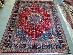 1980s Hand-Knotted, Mashad-Sabzevar Persian Rug, Room-Sized! (1467) by carpetshopprincess on Etsy