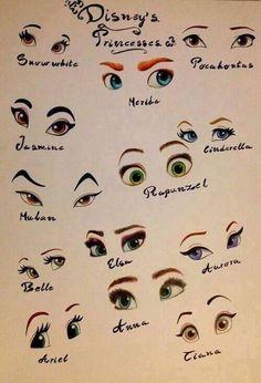 Disney princess eyes-I'd like to point out that Merida is Pixar tho! Disney Animation, Disney And Dreamworks, Disney Pixar, Disney Frozen, Disney Cruise, Disney Mignon, Disney Memes, Walt Disney Cartoons, Disney Facts