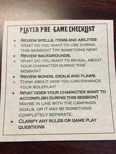 Dungeons and Dragons Pre-Game Checklist Dungeons And Dragons Homebrew, D&d Dungeons And Dragons, Dungeons And Dragons Characters, Tabletop Rpg, Tabletop Games, Dm Screen, Dungeon Master's Guide, Dnd 5e Homebrew, Character Sheet