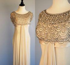 Vintage 1960s chiffon gown / Ivory beaded silk chiffon gown / chiffon evening dress