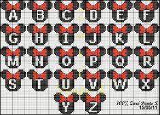 "Cross Stitch Delicate Corner: Charts Cross Stitch ""Monograms Michey and Minnie"" Mais Hama Beads Design, Hama Beads Patterns, Loom Patterns, Beading Patterns, Embroidery Patterns, Stitch Patterns, Cross Stitch Letters, Cross Stitch Charts, Cross Stitch Designs"