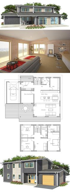 Modern House Plan, covered terrace to enjoy outside living. Nice & large living areas. Second living area on the second floor.
