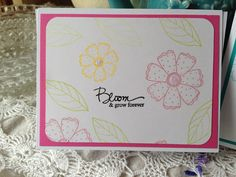 Flower cling stamp set (old set) by Hero Arts.  Sentiment -by Papertrey Ink clear set.