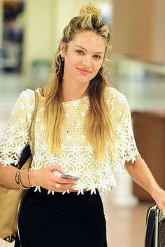 Style Update: The Half (pseudo) Bun. Candice Swanepoel shown.