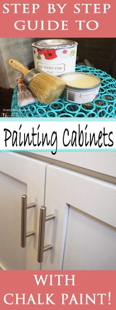 to Paint Cabinets with Chalk Paint Step by Step Tutorial to Painting Cabinets with Chalk Paint!Step by Step Tutorial to Painting Cabinets with Chalk Paint! Redo Kitchen Cabinets, Kitchen Paint, Diy Kitchen, Kitchen Decor, Kitchen Ideas, Bathroom Cabinets, Diy Cabinets, Metal Cabinets, Funny Kitchen